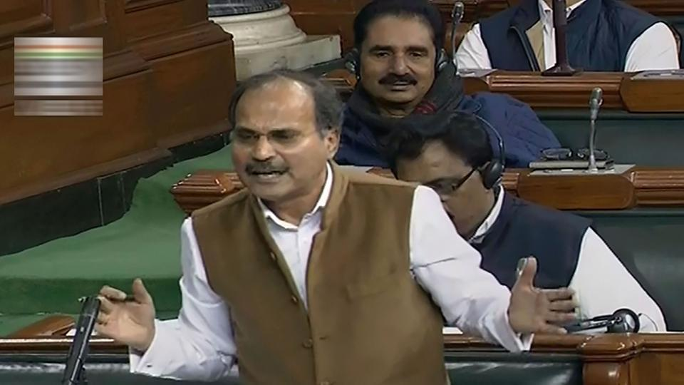 Congress leader Adhir Ranjan Chowdhury speaks in the Lok Sabha during the Winter Session of Parliament, in New Delhi, Friday, Dec. 6, 2019.
