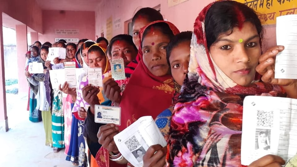 Long queues at a polling booth in Mandar assembly seat during the second phase of  Jharkhand Assembly Election,  Dec 7, 2019.