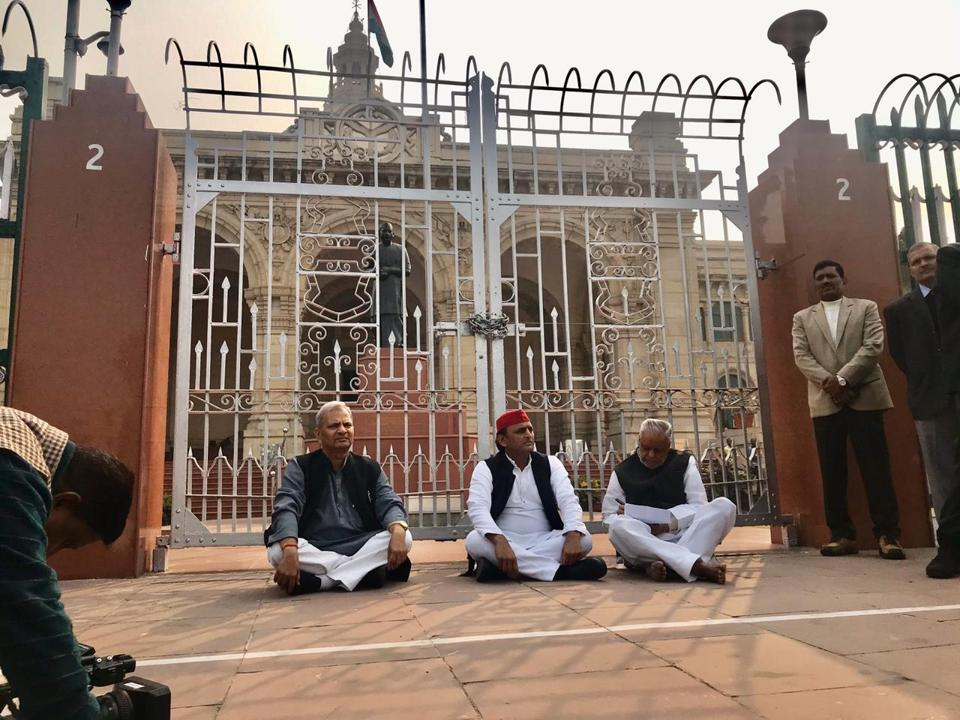 Samajwadi Party national president Akhilesh Yadav (centre) with party colleagues Naresh Uttam (extreme left) and Rajendra Chaudhary protesting outside the Vidhan Bhavan in Lucknow on Saturday.