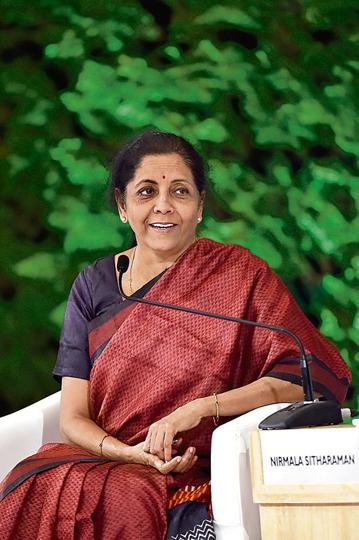 Nirmala Sitharaman during the Hindustan Times Leadership Summit at Taj Palace in New Delhi.
