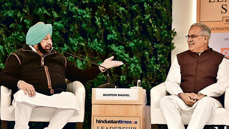 Capt Amarinder Singh, chief minister of Punjab, and Bhupesh Baghel, chief minister of Chhattisgarh, at the Hindustan Times Leadership Summit in New Delhi on Saturday.