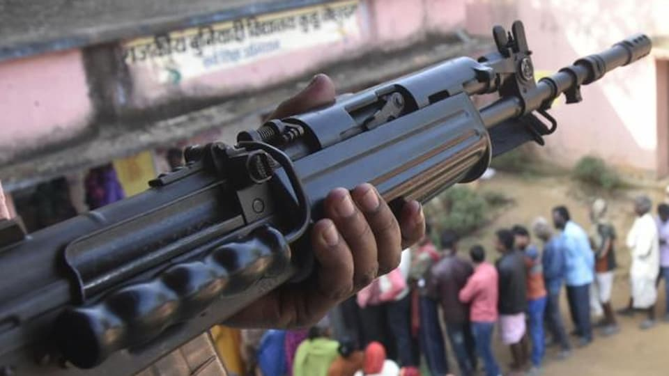 Police opened fire to control a mob that was pelting stones at the security forces at a polling booth in Gumla during the second phase of assembly election in Jharkhand, Dec 7, 2019.