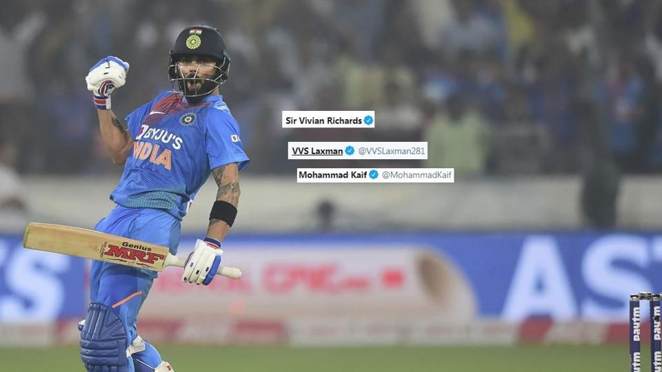 India's Virat Kohli celebrates after win the first T20 match against West Indies at Rajiv Gandhi International Stadium in Hyderabad.
