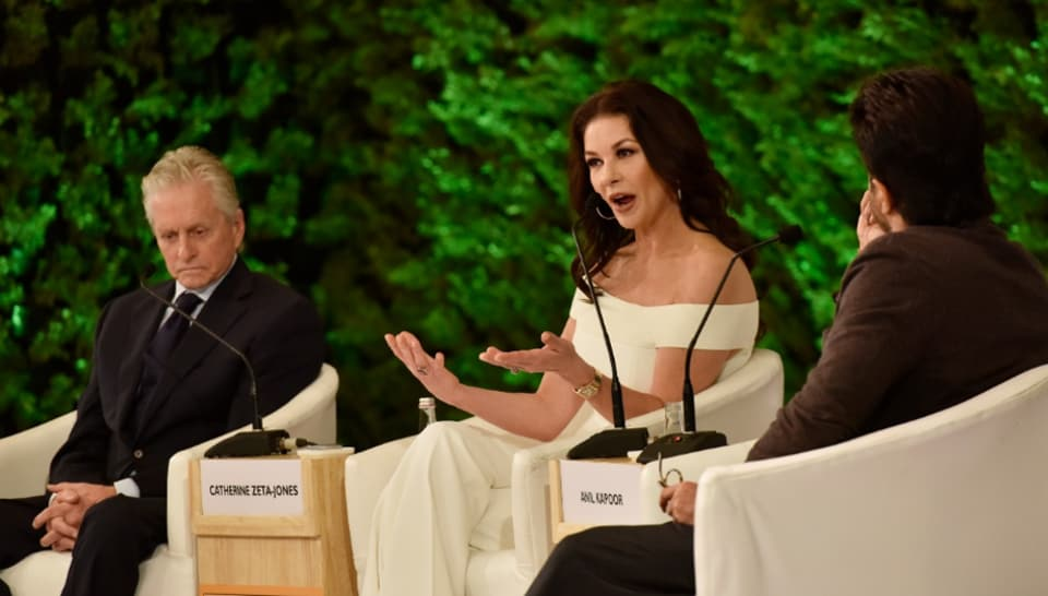 Catherine Zeta-Jones and Michael Douglas in conversation with Anil Kapoor at Hindustan Times Leadership Summit 2019.
