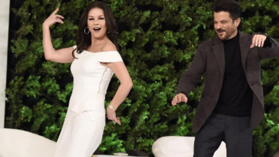 Catherine Zeta-Jones dances with Anil Kapoor on Om Shanti Om at Hindustan Times Leadership Summit 2019.