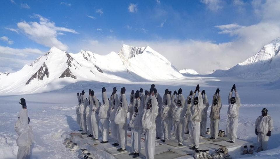 Soldiers performing yoga at Siachen Glacier, the highest battlefield in the world.