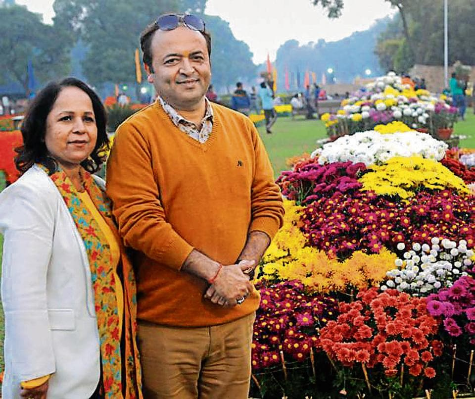 Rajni Thareja (left) and Sanjay Thareja bagged 27 prizes at the 33rd Chrysanthemum Show organised by the municipal corporation at Terraced Garden, Sector 33, Chandigarh.