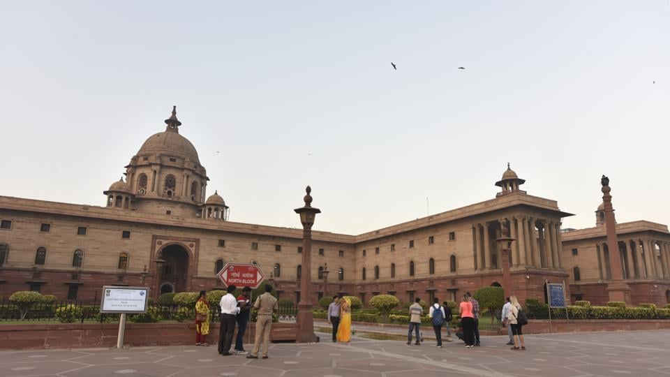 """Visitors at the North Block of Raisina Hill in New Delhi. The MHA has stressed that individual states must ensure that forensic laboratories maintain their """"operational independence""""."""