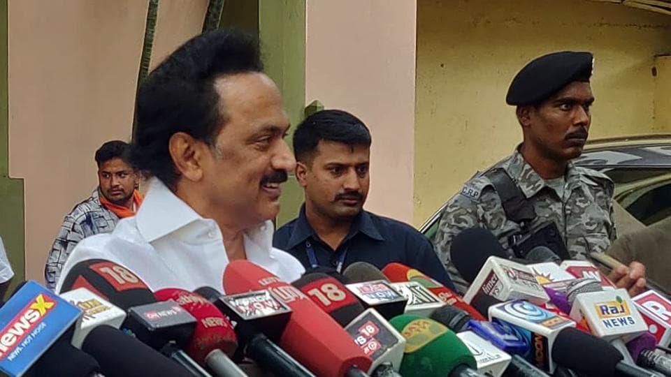 DMK chief MK Stalin speaks to media in Chennai.
