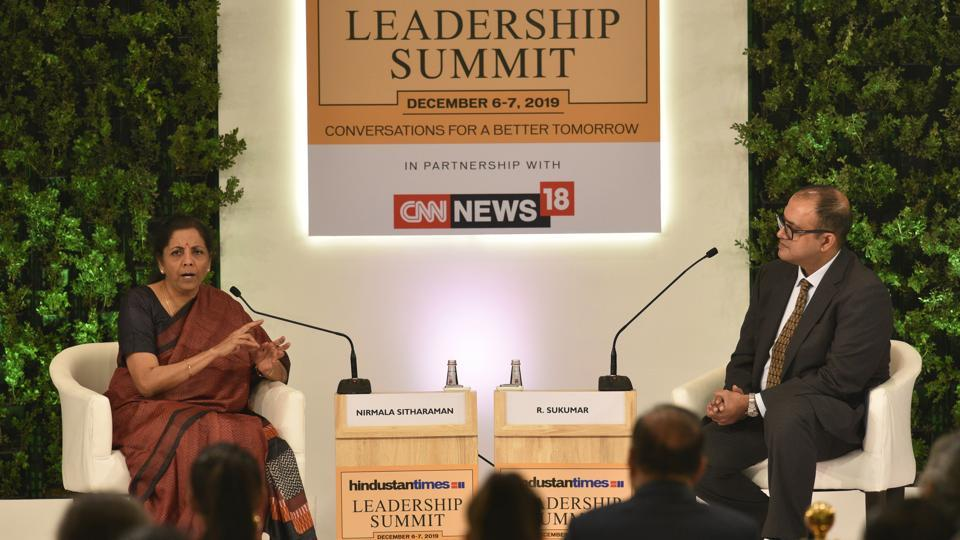 Nirmala Sitharaman, Minister of Finance,  in conversation with R. Sukumar, Editor-in-Chief, Hindustan Times during HTLS 2019 in New Delhi on Saturday. (Burhaan Kinu/HT PHOTO)