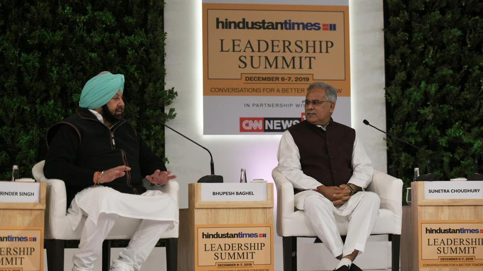 Captain Amarinder Singh and Bhupesh Bhagel on Saturday aired their views on the future leadership of their party. (Raj K Raj/HT PHOTO)