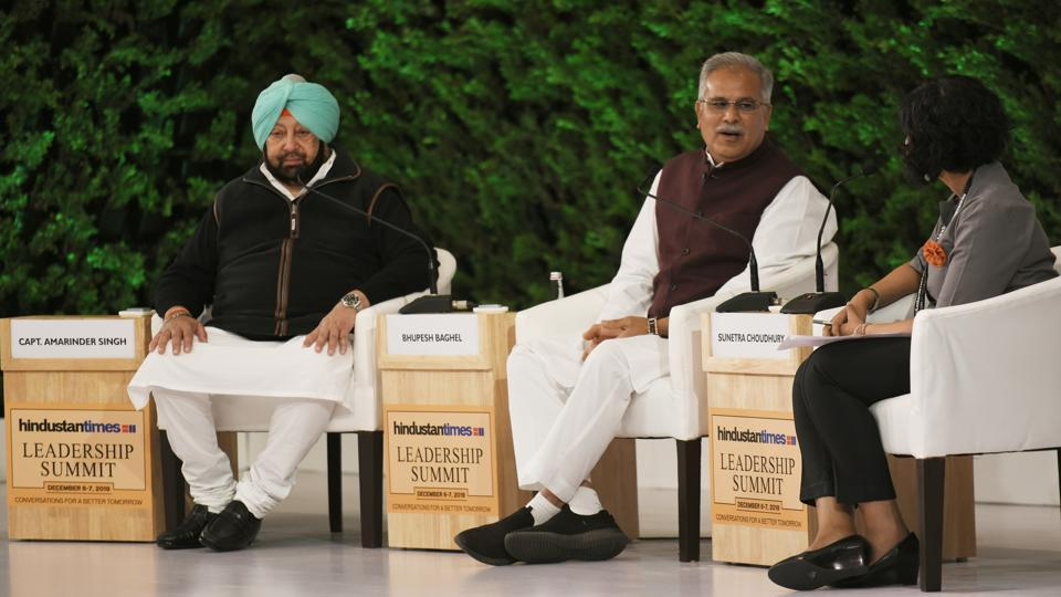 Captain Amarinder Singh, Chief Minister of Punjab, Bhupesh Bhagel, Chief Minister of Chhattisgarh and Sunetra Choudhury, National Political Editor, Hindustan Times during the Hindustan Times Leadership Summit 2019 at Taj Palace in New Delhi.  (Raj K Raj/HT PHOTO)
