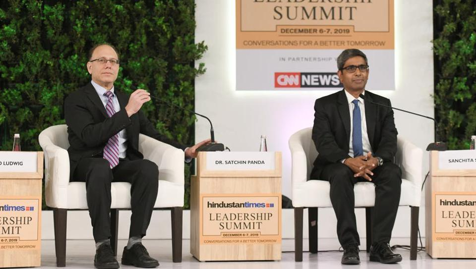 Dr. David Ludwig, Professor, Pediatrics and Nutrition at Harvard University and Pediatric Endocrinology at Boston Children's Hospital and Dr. Satchin Panda, Professor, Salk Institute and Author of The Circadian Code during the Hindustan Times Leadership Summit 2019 in New Delhi.