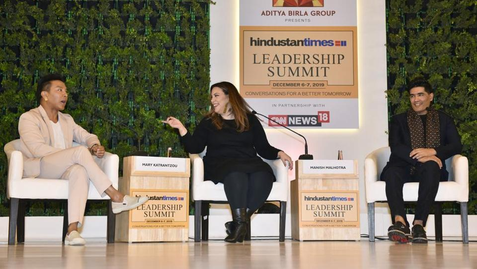 Prabal Gurung, Mary Katrantzou and Manish Malhotra during the Hindustan Times Leadership Summit at Taj Palace, in New Delhi.