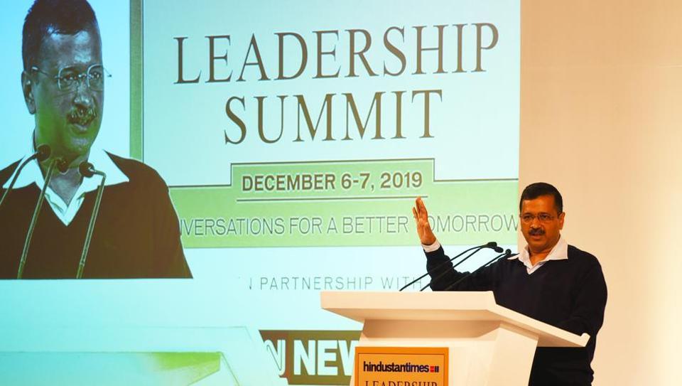 Arvind Kejriwal, Chief Minister of Delhi during the Hindustan Times Leadership Summit 2019  in New Delhi on Saturday.  (Raj K Raj/HT PHOTO)