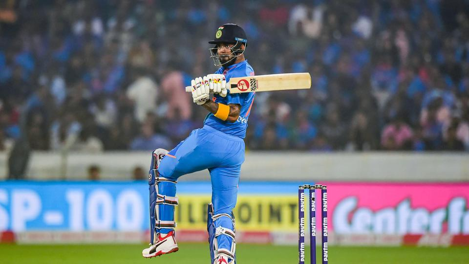 KL Rahul plays a shot during the first T20 match against West Indies.
