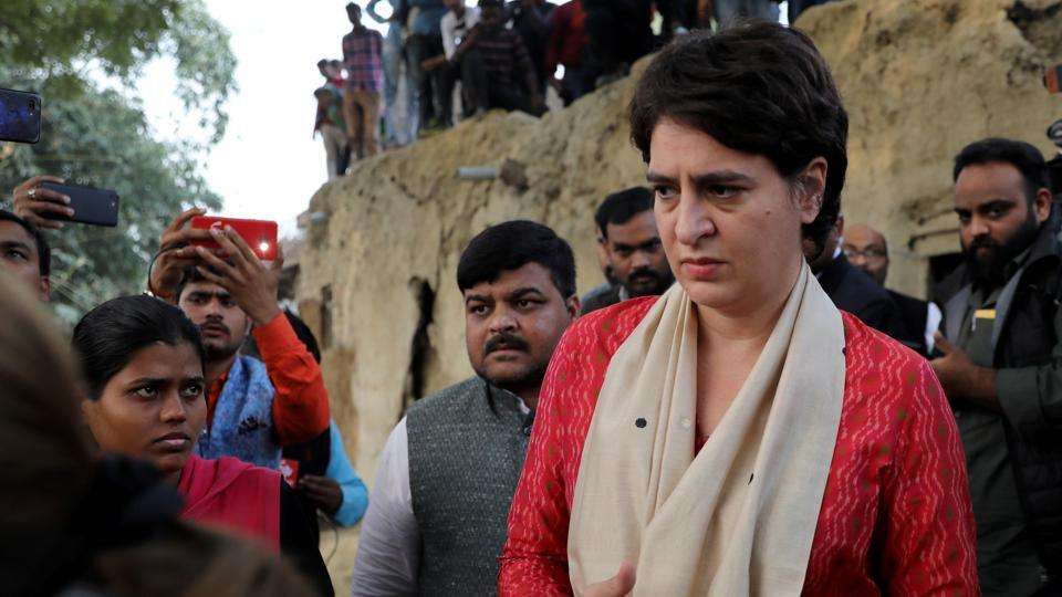Priyanka Gandhi Vadra, a leader of  opposition Congress party, arrives to meet the relatives of a 23-year-old rape victim, who died in a New Delhi hospital on Friday after she was set on fire by a gang of men, which included her alleged rapists, in Unnao, Uttar Pradesh.