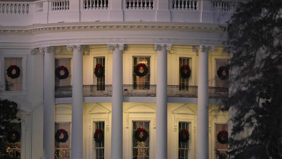 A view of the south side of the White House in Washington,