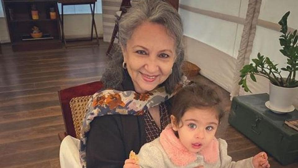 Sharmila Tagore on her 75th birthday with her granddaughter Inaaya Naumi Kemmu.