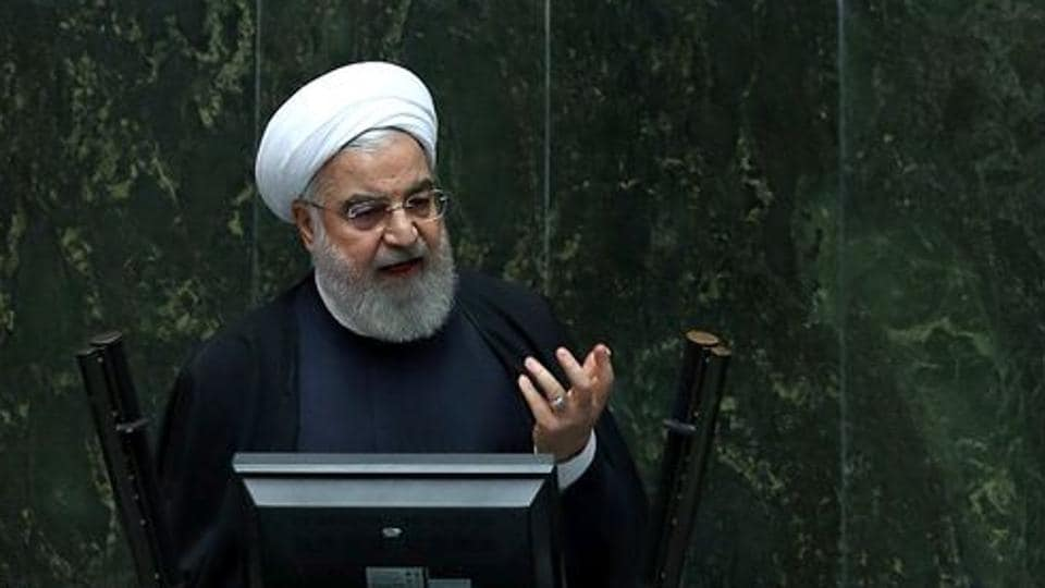 Iranian President Hassan Rouhani speaks during a session of parliament in Tehran.