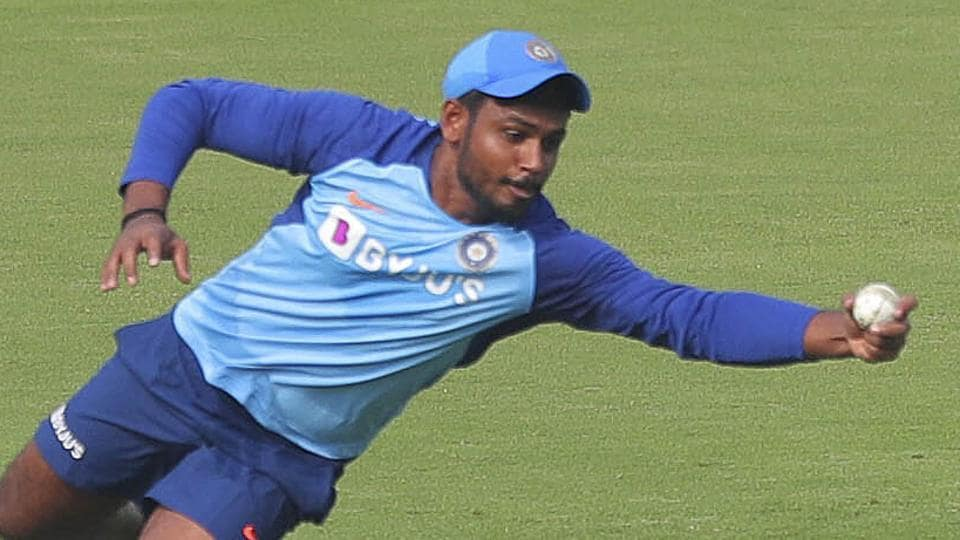 File image of India cricketer Sanju Samson in action during a practice session.