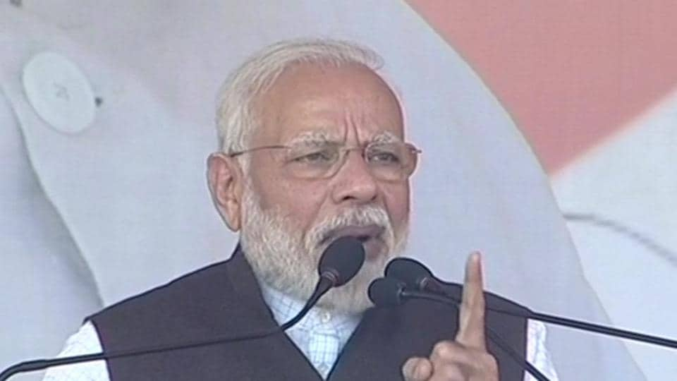 PMModi addressing a rally in Jharkhand's Hazaribagh on Monday.