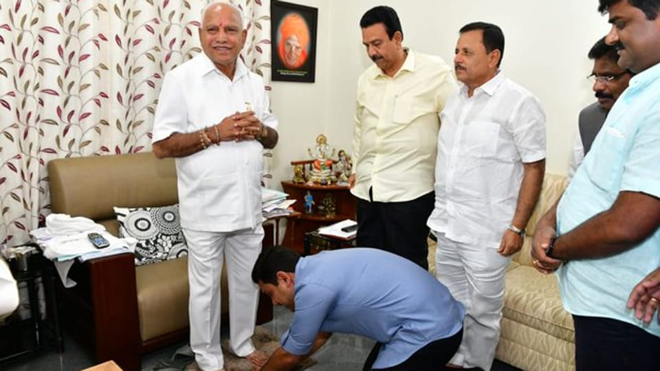 BS Yediyurappa, who came to power with a wafer-thin majority soon after, needed to win 6 out of the 15 seats to hold on to his chair.  (Photo @BYVijayendra)
