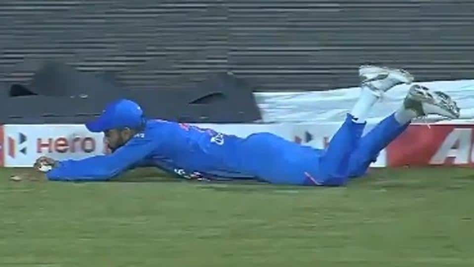 Virat Kohli takes a catch against Windies in second T20I.