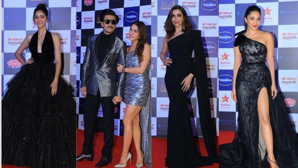 Ananya Panday, Ranveer Singh, Sara Ali Khan, Deepika Padukone and Kiara Advani at Star Screen Awards 2019.