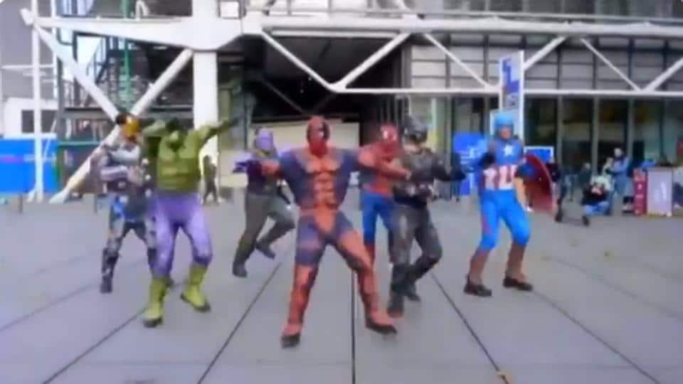 Group dressed as Avengers dancing to Disco Deewane.