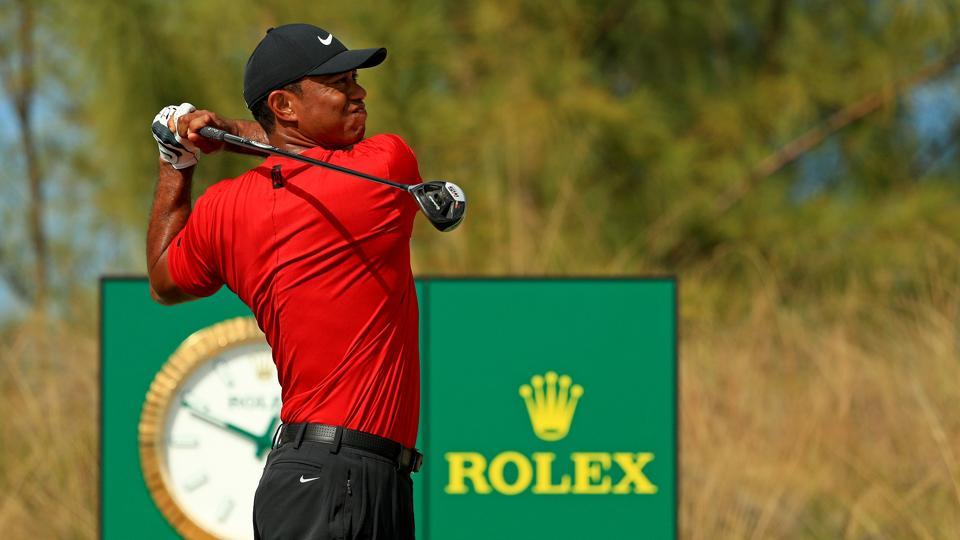 Tiger Woods of the United States hits his tee shot on the 10th hole during the final round of the Hero World Challenge at Albany on December 07, 2019 in Nassau, Bahamas.