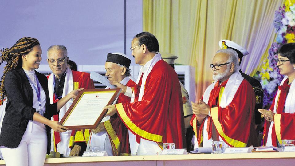 Vice President Venkaiya Naidu during Symbiosis convocation at Lavale
