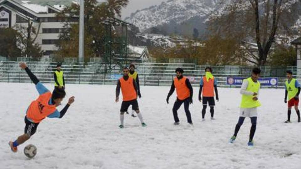 File image of players of Real Kashmir FC in action during a training session.