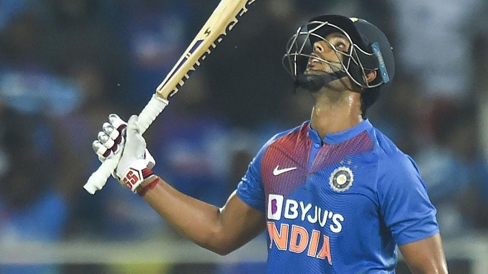 Thiruvananthapuram: Indian batsman Shivam Dube raises his bat after completing half century.