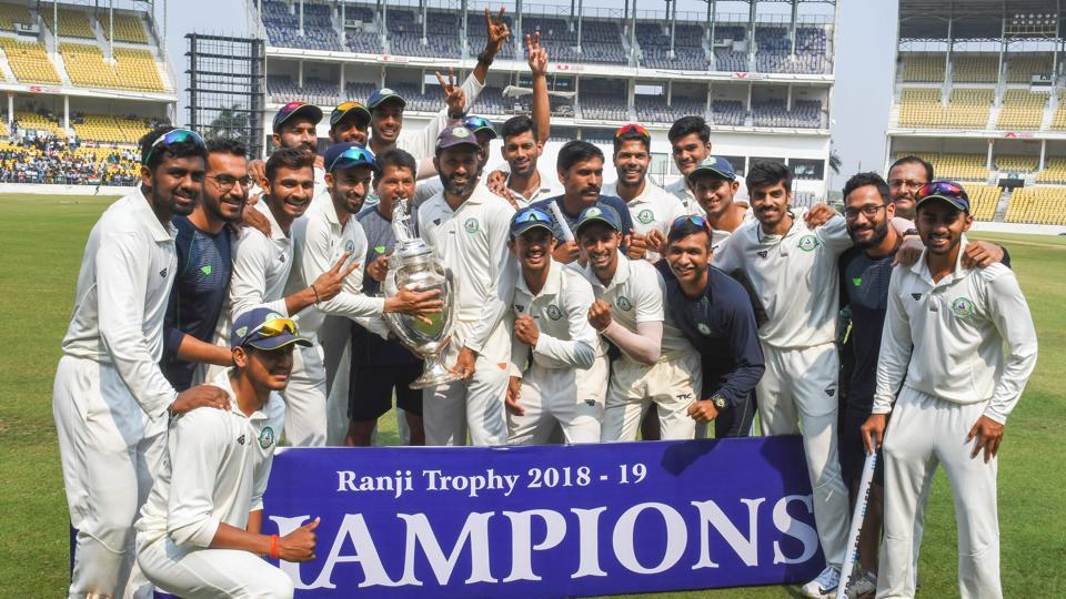 File image: Vidarbha team poses with the trophy after defeating Saurashtra in 2018-19 final