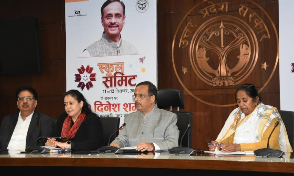 Deputy chief minister of UP, Dinesh Sharma, addressing a press conference in Lucknow on Tuesday.