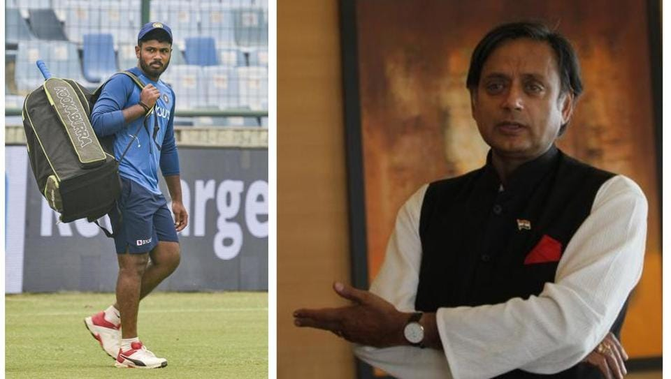 Shashi Tharoor laments Samson's absence from Team India.