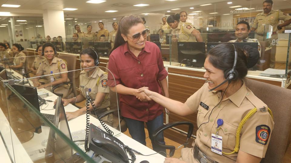 Rani Mukerji greets a policewoman in Mumbai.