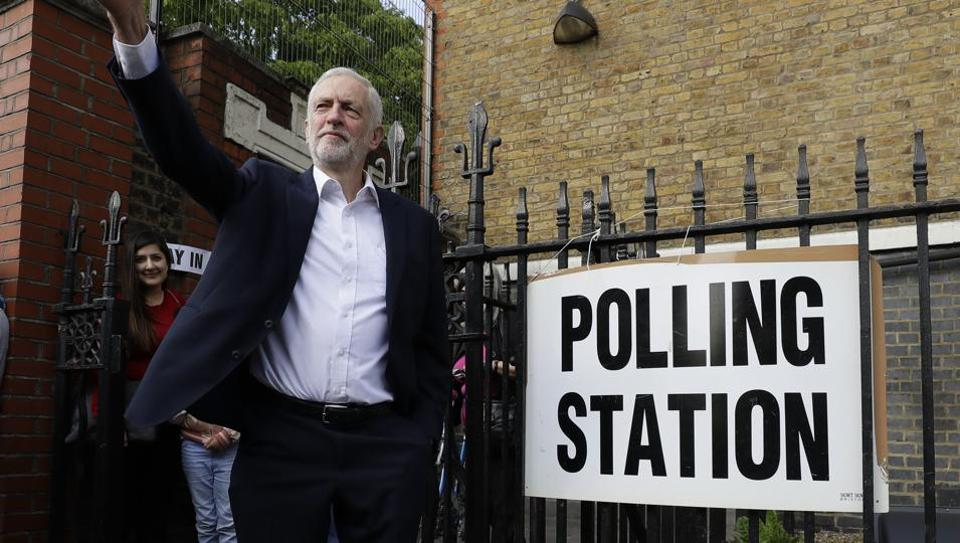Jeremy Corbyn leader of Britain's opposition Labour Party gestures after voting in the European Elections in London.