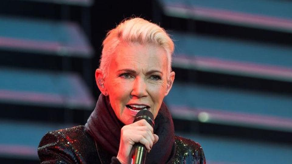 Marie Fredriksson of pop band Roxette sings during a concert at Fredriksskans in Kalmar.