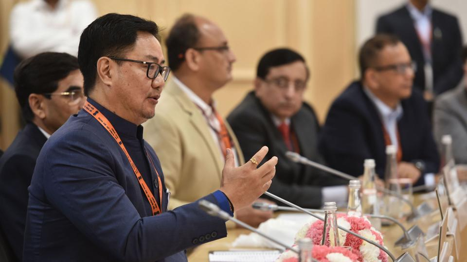 Union Minister of Youths and Sports (I/C) Kiren Rijiju chairs a conference with ministers, secretaries and principal secretaries.