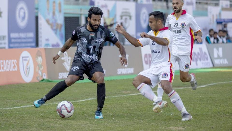 Player in action during I-League encounter between Punjab FC and East Bengal at Guru Nanak Stadium in Ludhiana.
