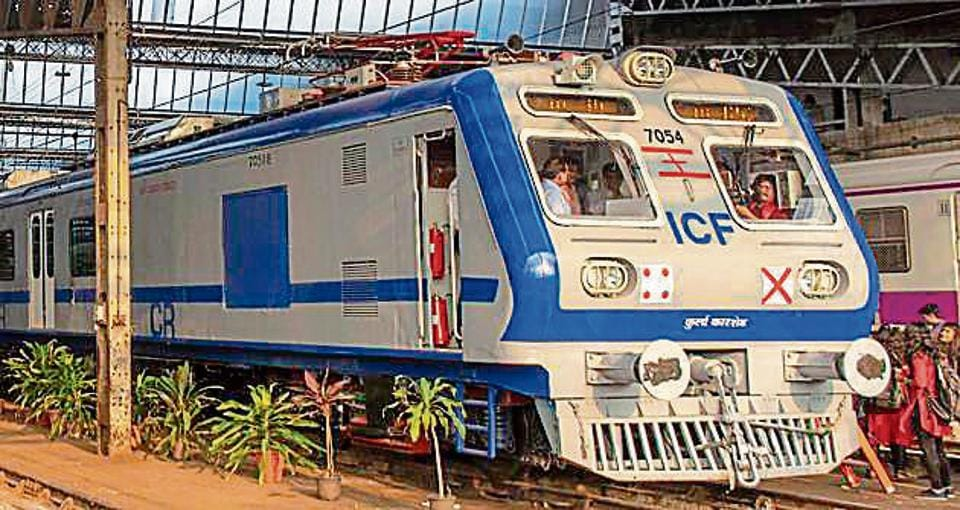 The new AC Train for the Central railway line at Kurla Car Shed, Mumbai, India, on December 10 2019.
