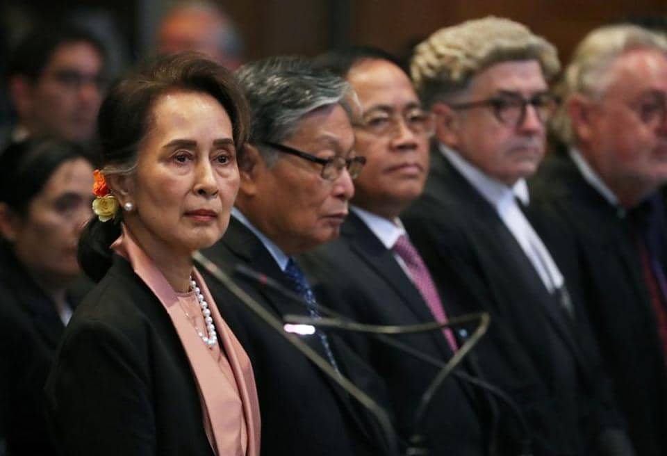 Myanmar's leader Aung San Suu Kyi attends a hearing in a case filed by Gambia against Myanmar alleging genocide against the minority Muslim Rohingya population, at the International Court of Justice (ICJ) in The Hague, Netherlands December 10, 2019.