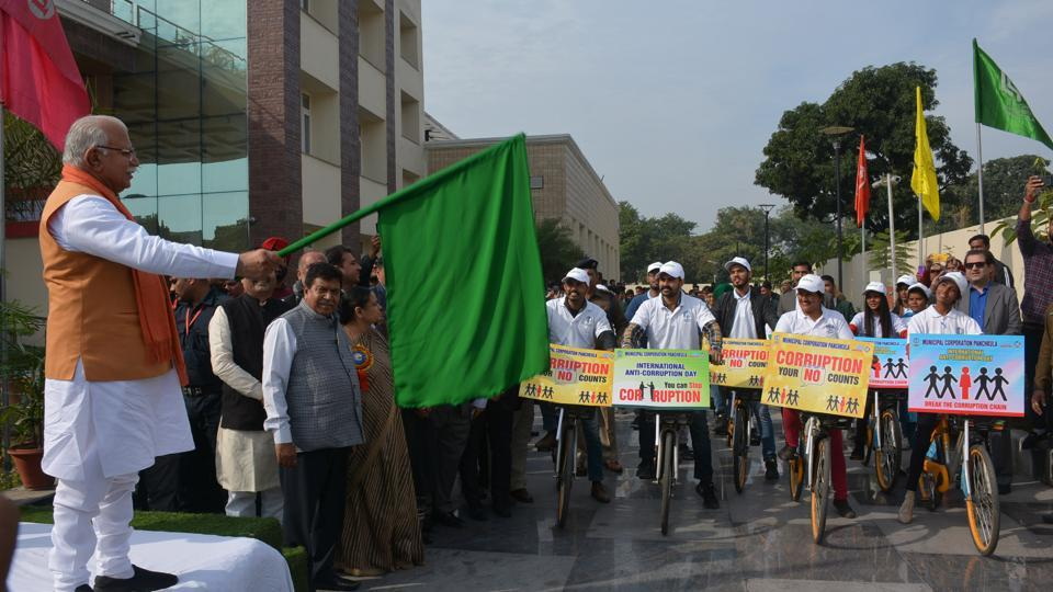 Haryana chief minister Manohar Lal Khattar flagging off a cycle rally at the Public Works Department   auditorium in Sector 1, Panchkula, on Monday.