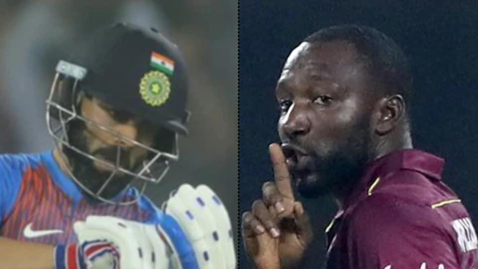 India skipper Virat Kohli and Windies bowler Kesrick Williams.