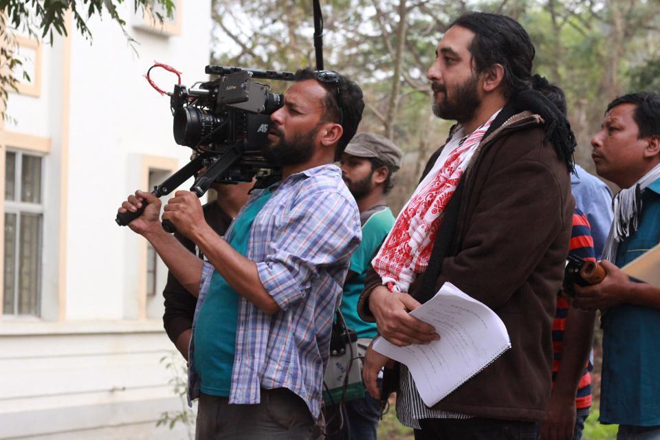 (Right) Bhaskar Hazarika in a a still from the shoot of Aamis