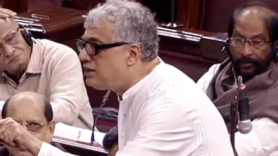 Trinamool Congress leader Derek O'Brien speaks in the Rajya Sabha during debate on Citizenship Bill on Wednesday.