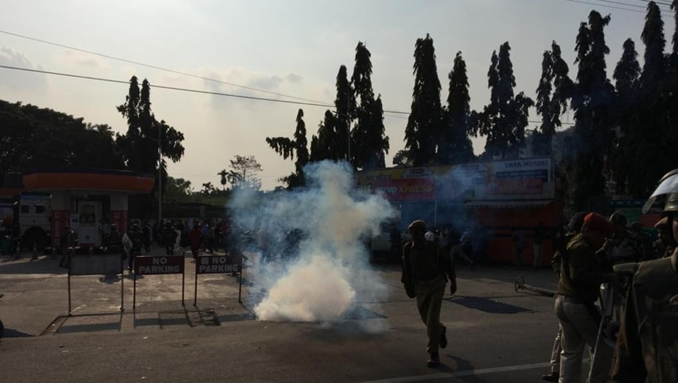 Protesters clashing with police near Assam secretariat
