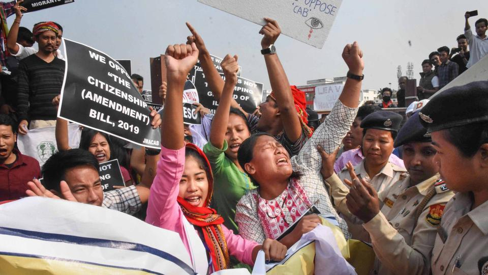 Demonstrators raise slogans against the Citizenship Amendment Bill (CAB) during a strike called by the North East Students' Organisation (NESO), in Agartala.